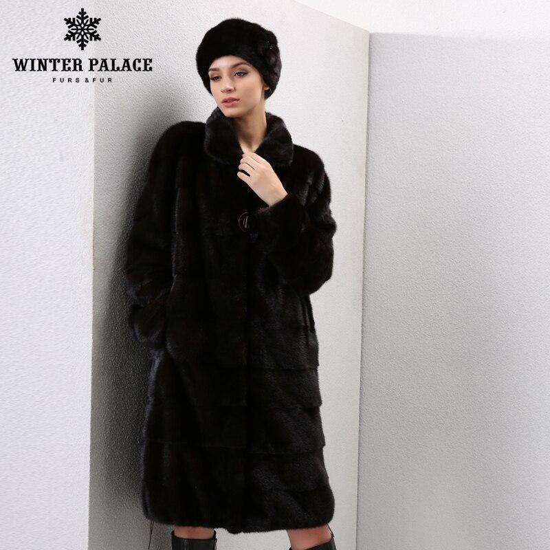 Winter Echtem Leder pelz frauen pelz mäntel Mode lange echte mantel mlnk pelzmantel echt mlnk pelzmantel