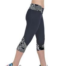 Damskie legginsy sportowe przycięte spodnie drukowanie Fitness trening legginsy dziewczyna Punk spodnie Jeggings legginsy czarny legginsy 5 $ tanie tanio feitong Leggings women Kobiety Połowy łydki Wysoka STANDARD Dzianiny Na co dzień Poliester Drukuj leather leggings leggins mujer