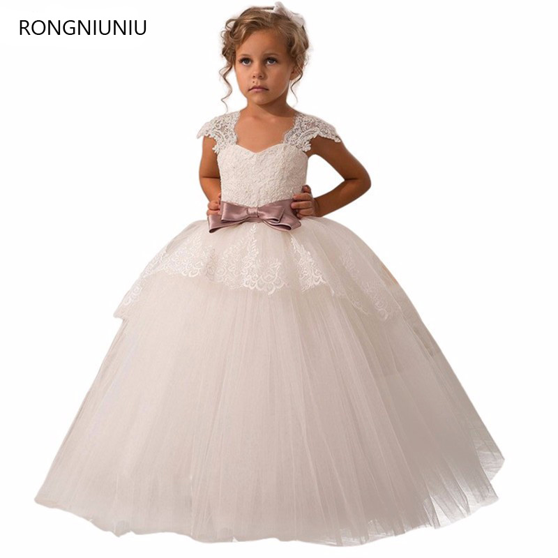 2019   Flower     Girl     Dresses   For Weddings Ball Gown V-neck Tulle Appliques Lace Bow First Communion   Dresses   For   Girls