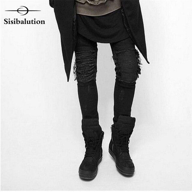 7a9cd60d75 2017 moda ripped skinny jeans negro hombres personalidad Rock estilo Jean  Pantalones slim fit pantalones para