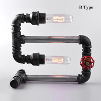 2017 New Handmade Retro Style Steel Pipe Desk Table Lamp Light Comes With LED Bulb Home