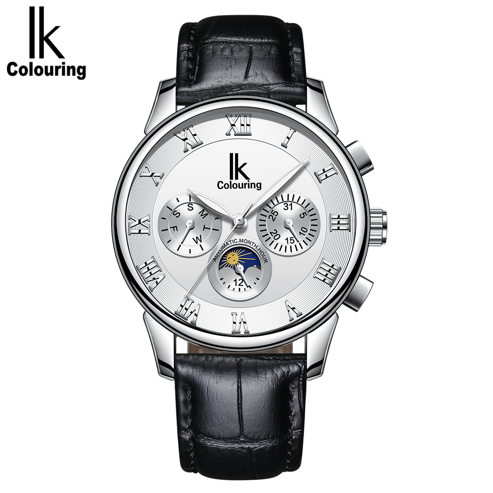 IK Colouring Mens Watches Mechanical Multifunctional Leather Strap Wristwatch Relogio Masculino Automatic Male Clock ik coloring bridge analog display mechanical male clock automatic wristwatch golden bezel skeleton watches relogio masculino