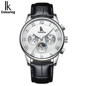 IK Colouring Mens Watches Mechanical Multifunctional Leather Strap Wristwatch Relogio Masculino Automatic Male Clock