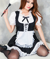 Látex maravilha mulheres Black & White Exotic Sex Sexy French Maid Costume Outfit adulto Clubwear fantasias para o Halloween Plus Size