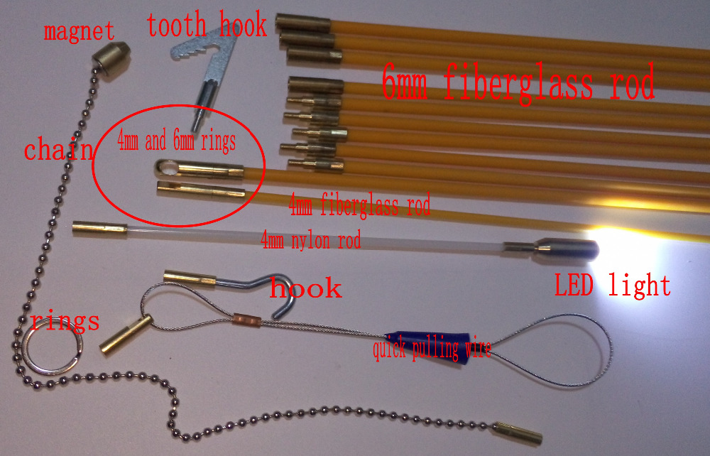 10x100cm Cable Access Kits 10PCS rods with hook rings LED light magnet chain cable puller push