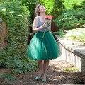 Primavera Outono Mulheres Saia Tutu Meninas Princesa Fluffy Plissada Verde Esmeralda Saia Midi Jupe Femme Faldas Saias De Tule Das Mulheres