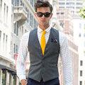 Hombres chaleco moda primavera otoño traje gris chaleco delgado bodas gilet del chaleco sin mangas para hombre chaquetas casual mens clothing