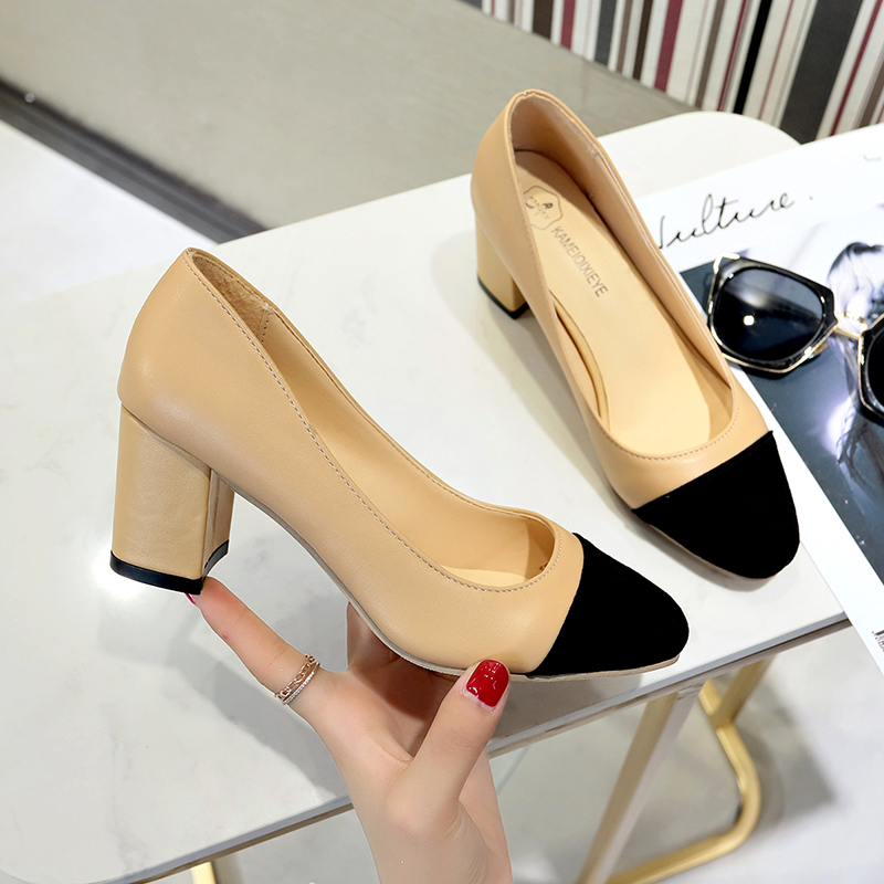 High-Heel Shoes Leather Pumps Beige Black Autumn Dress Sqare-Toe Office And Brand Suede