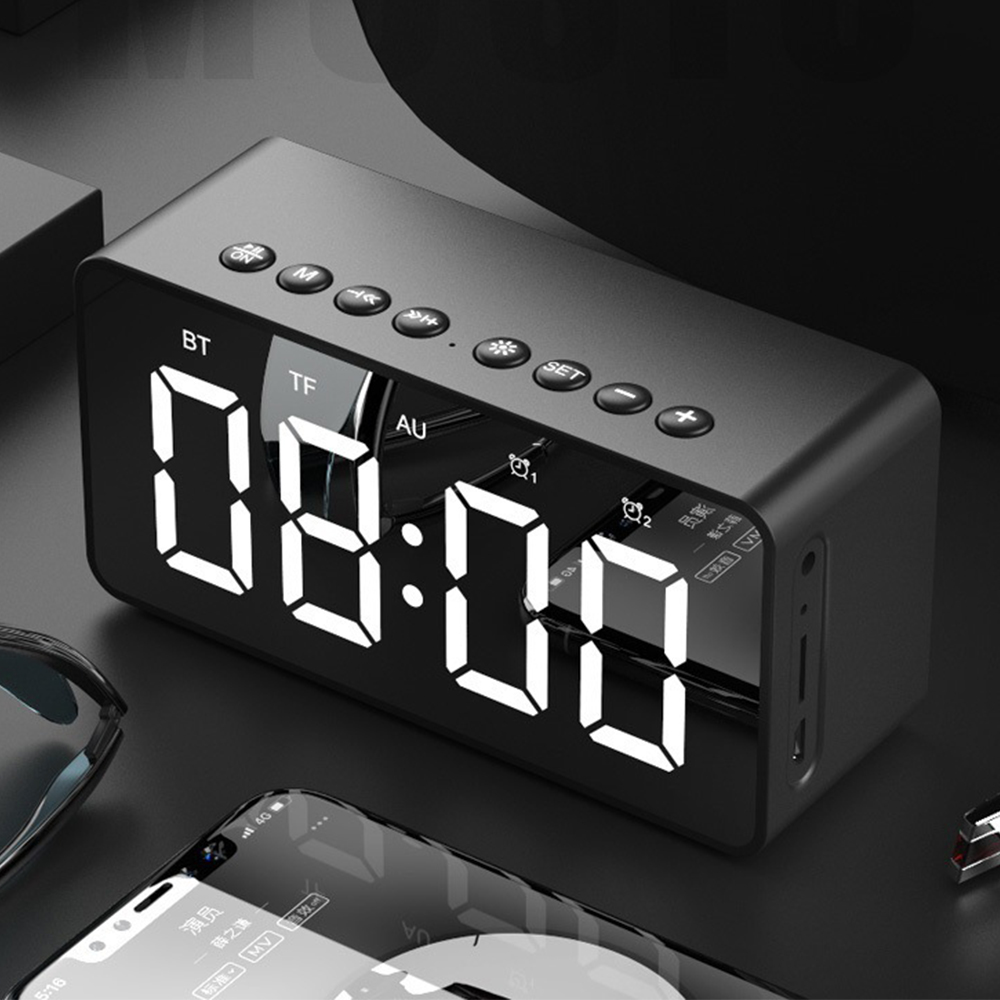Portable BT506 Alarm Clock Bluetooth Speaker Super Bass Wireless Subwoofer Stereo Mirror Microphone Phone PC Speakers TF AUX Q(China)