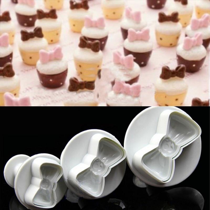 3pcs Cute Bowtie Fondant Molds Sugarcraft Cake Decorating Plungers Mould Cutters