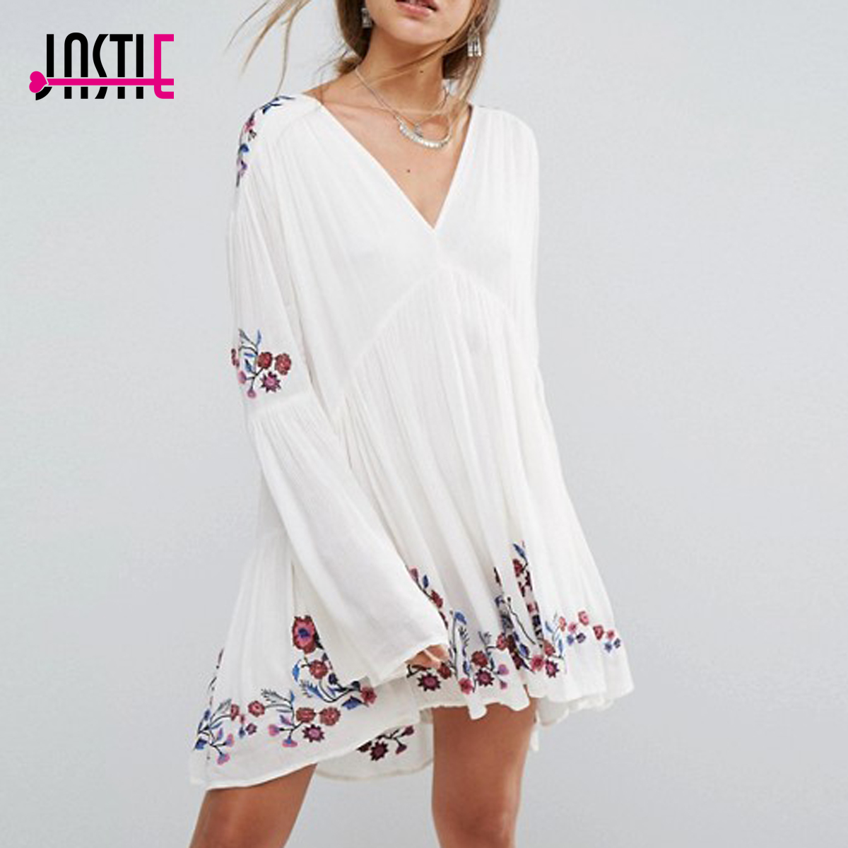 Jastie Oversize Spring Autumn Dress Floral Embroidered Mini Dress V Neck Long Sleeve Casual Beach Dresses