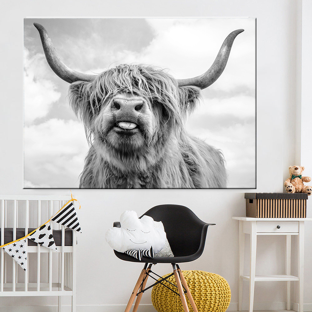 Black and White Highland Cow Cattle Wall Canvas Art Nordic Painting Poster and Print Scandinavian Wall Picture for Living Room