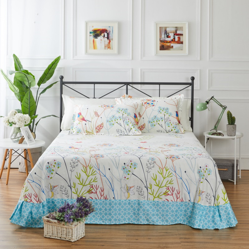 Rural Style Color Printing Pattern 3Pcs Flat Sheet 100% Cotton Bed Sheet For Child Kids Adults Pillow Covers Queen King Size