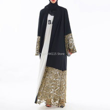 Arabian clothing floral Lace Cardigan robe robes Luxury traditional Muslim clothing 2019 new style Long Skirt Tunic dress(China)