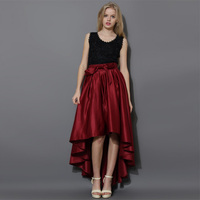 2016 Fashion Irregular Long Skirt Custom Made Invisible Zipper Taffeta Floor Length Skirts With Bow Exquisite Party Skirts