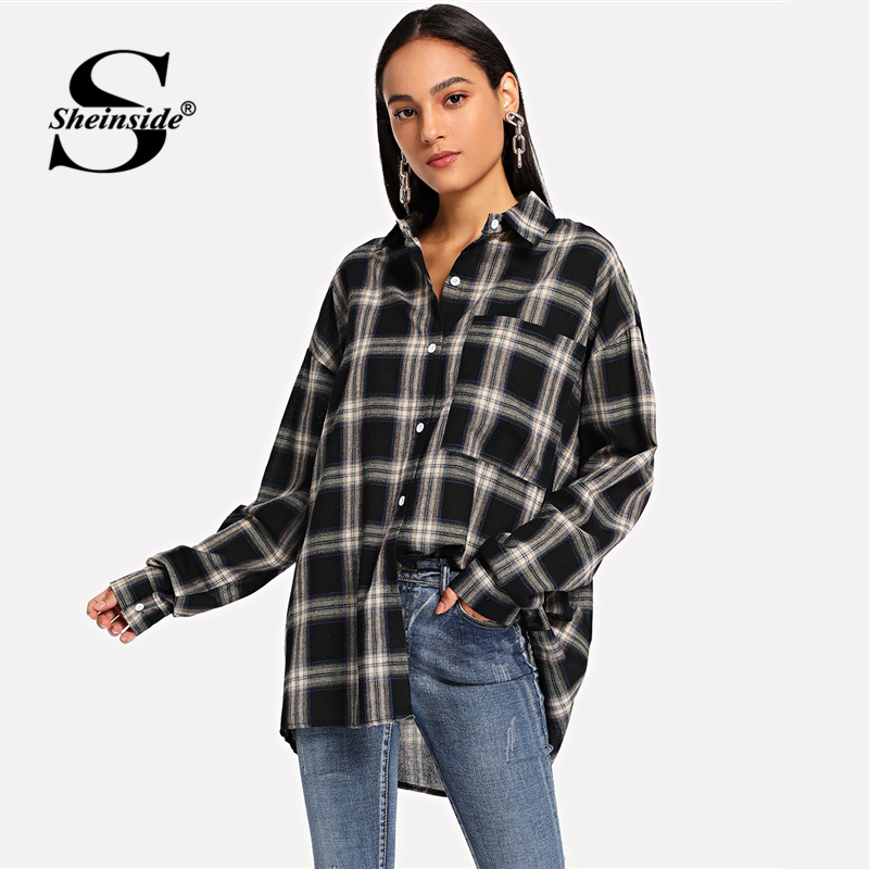 Sheinside Plaid Curved Hem Long   Shirt   Women Black   Blouse   2019 Female Long Sleeve Top Asymmetrical Casual Womens Tops and   Blouses