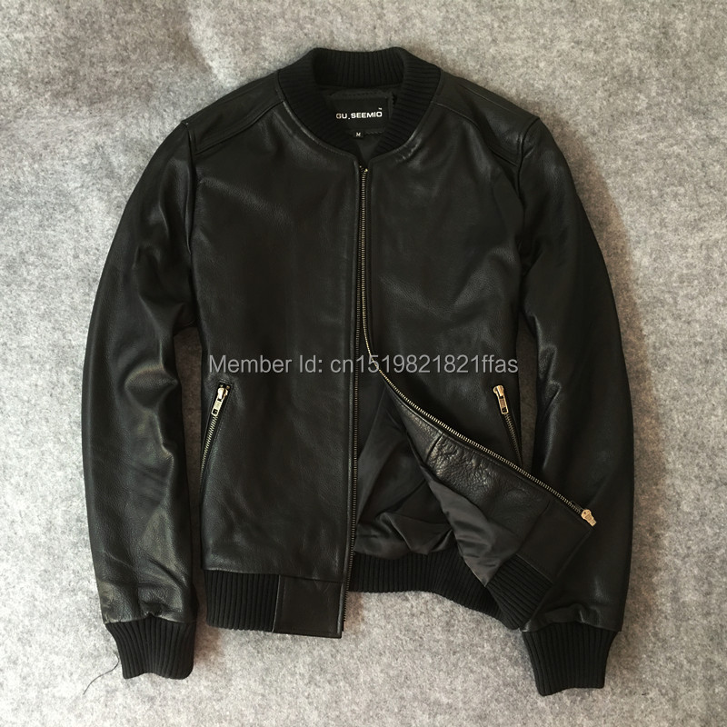 Factory Thickening cotton-padded jacket genuine leather clothing male slim cowhide leather outerwear baseball uniform suit