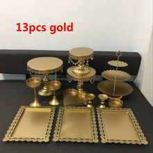 hot deal buy 13pieces gold/ white iron metal cake stand set wedding party plate birthday party cake decoration tools bakeware dinnerware