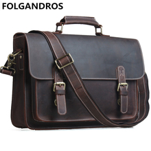 Brand Vintage Men Laptop Bag Famous Designer Handbags Genuine Cow Leather Briefcases Lock Portfolios High Quality Shoulder Bag