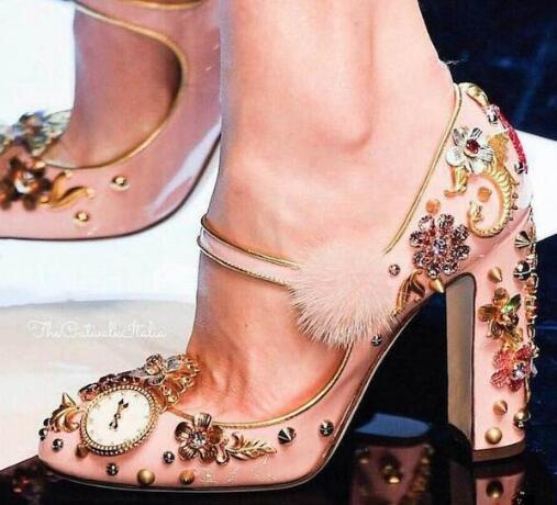 2017 Pink Pom pom Thick Heels Woman font b Shoes b font Crystal Embellished Ankle Strap