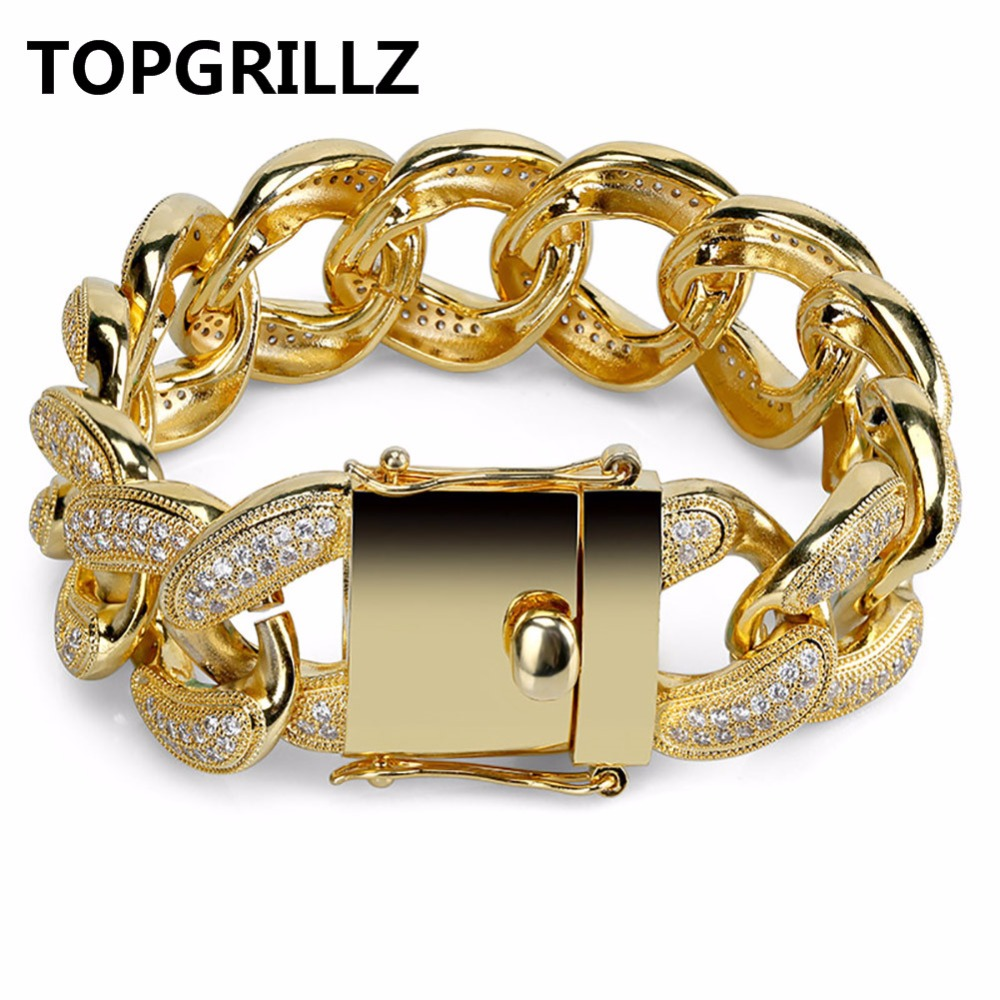 TOPGRILLZ Hip Hop Men Bracelet Copper Iced Out Gold/Silver Color Plated Micro Paved CZ Stone 28mm Bracelets With 8.5 Inch Length topgrillz spikes rivet stud mens rivet charm bracelets 2018 iced out gold silver color bracelets for men hip hop punk jewelry
