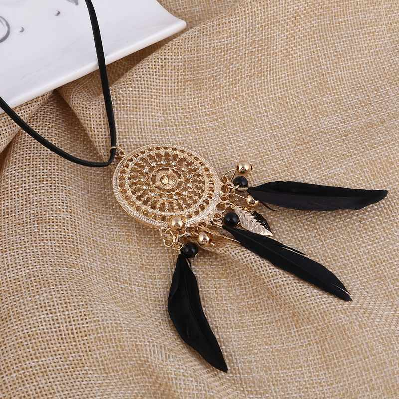 Fashion Choker Feather Statement Necklaces&Pendants Women Leather Jewelry Long Leather Rope Necklace gold catcher Maxi Necklace