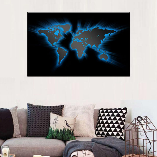 1 PCS Retro Huge Picture Blue World Maps Painting Abstract HD Picture Black World Map For Living Room Decor Hotel Wall Art  sc 1 st  Aliexpress & Online Shop 1 PCS Retro Huge Picture Blue World Maps Painting ...