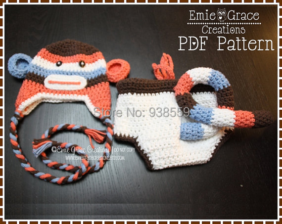 Crochet Monkey Hat And Diaper Cover Pattern Images Knitting