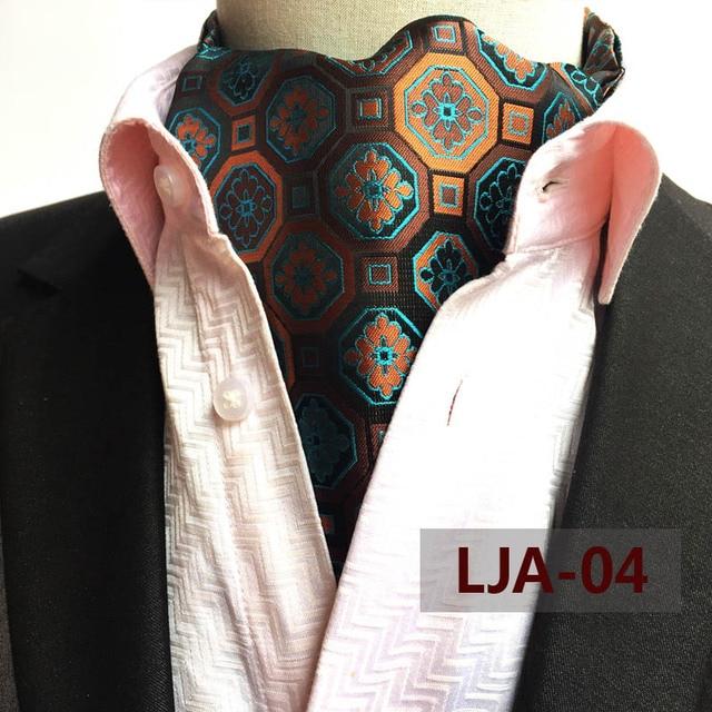 British Style Gentlemen Luxury Vintage Ascot Golden Blue Geometric Long Neckerchief for Man