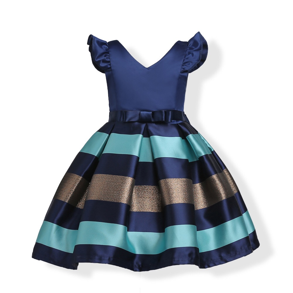 2019 New Baby Girls Dress Striped Formal Wedding Party Dresses Kids Princess Party Dress Costume Children Clothing For 3-10Years