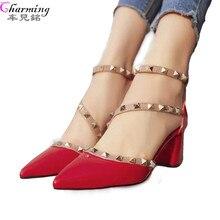 2016 г. женские туфли-лодочки модный новый дизайн заклепки женские босоножки удобные квадратные высокие каблуки качество высокие каблуки лето осень ALF204