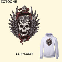 ZOTOONE Skull Punk Patches Black Angel Wings Patch 11.8*15CM Iron on Transfers DIY Accessory Decoration Print T-shirt Jeans D