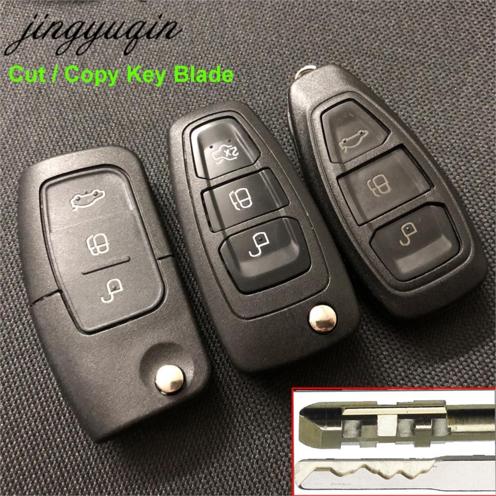 Jingyuqin Comprennent la Coupe Copie Clé Ébauche de Lame À Distance Flip Clé Pour Ford Focus 2 Mondeo C S Max Galaxy Fiesta voiture Fob TRANSIT