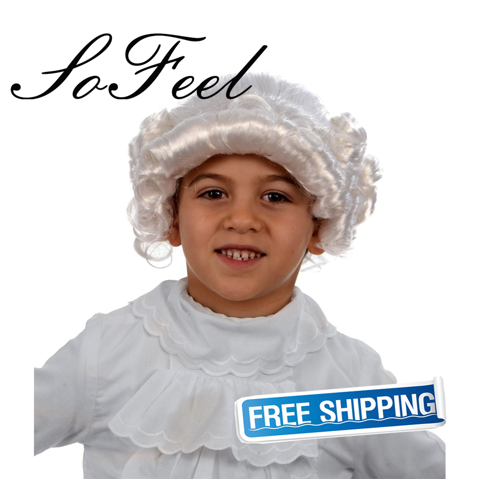 Sofeel goods in stock Child George Washington Wig, Kids Colonial Wig, White high temperature fiber cosplay wig free shipping free shipping xc3020 70pg84m new original and goods in stock