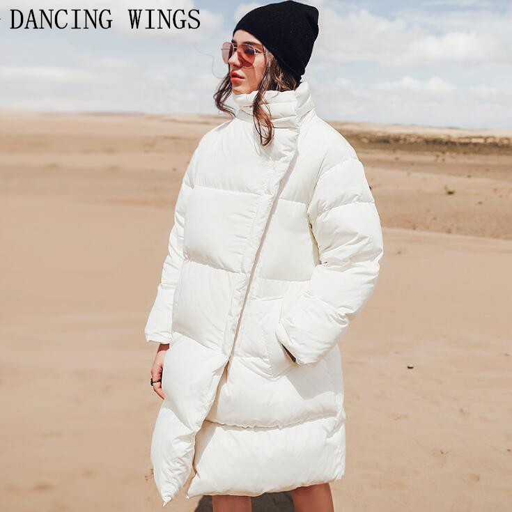 Winter Parkas Women Loose 90% White Duck   Down     Coat   Thick Warm Stand Collar Long   Down   Jacket Femlae Outerwear   Coats