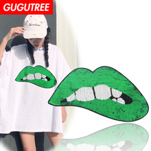 GUGUTREE embroidery Sequins big lip patches mouth badges applique for clothing XC-180