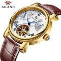AILANG мужские часы Топ бренд класса люкс Tourbillon часы сапфир модные механические часы мужские повседневные Автоматические наручные часы