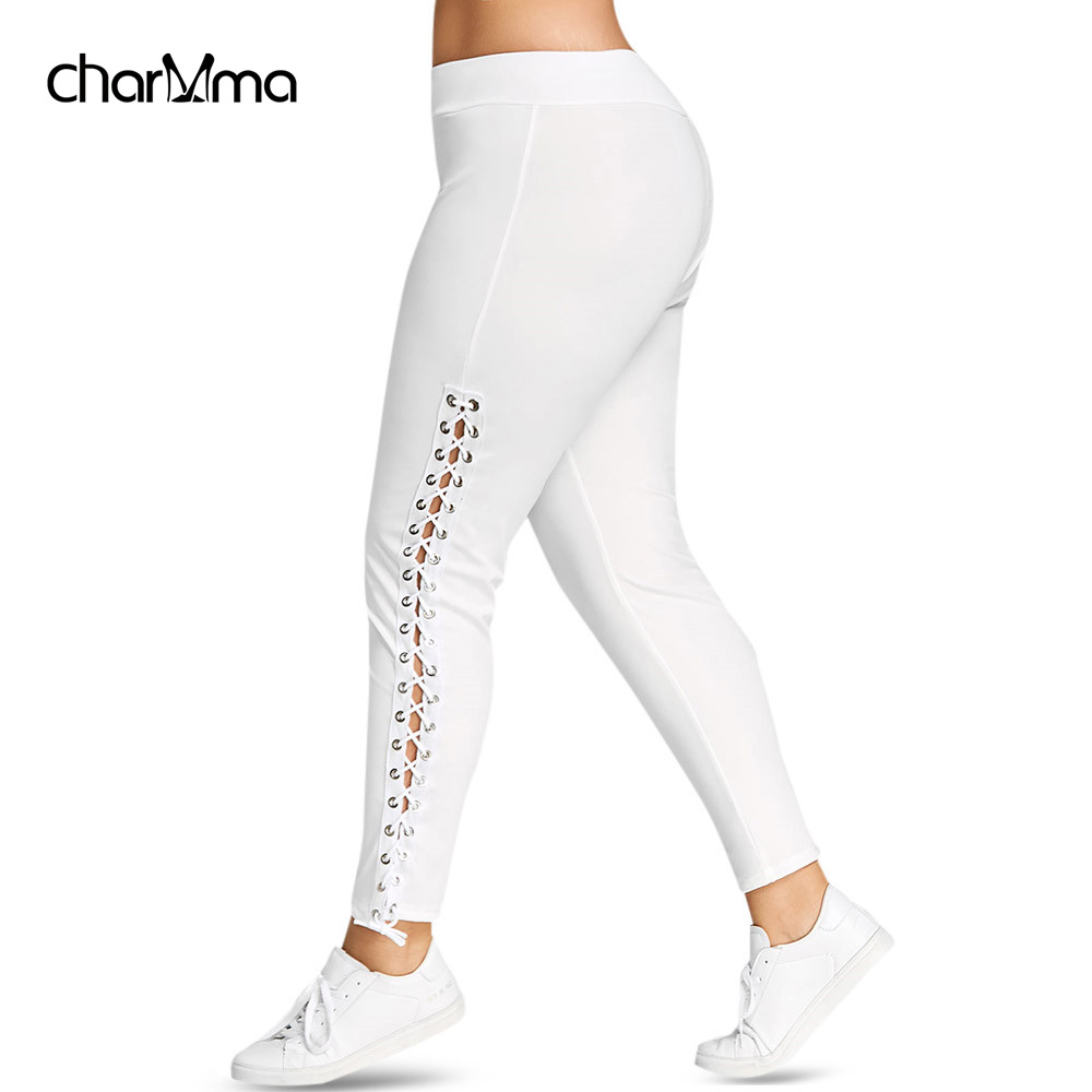 Women pants Skinny Leggins Plus Size Lace Up Grommet Leggings Pencil Pants Trouser Black White Leggings 5XL Pantalones sweatpant