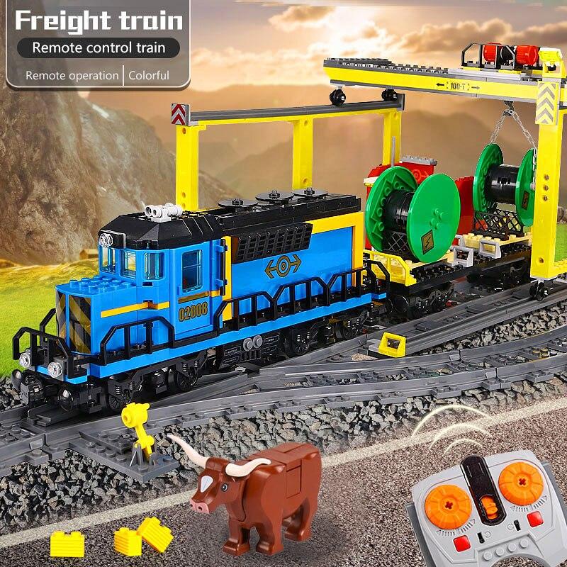 Lepin 02008 02010 Cargo City Train Ensemble Ville Série compatible Legoinglys 60052 Train briques de construction Jouet pour les garçons