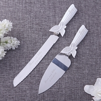 Personalized Wedding Cake Knife Serving Set Resin Handle Butterfly Stainless Steel Cake Knife Tool Customized Wedding