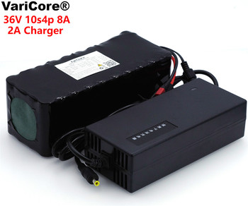 VariCore 36 V 8Ah 10S4P 18650 Rechargeable Battery, Modified Bikes, 36 V Electric Vehicle Protection with PCB + 2A Charger