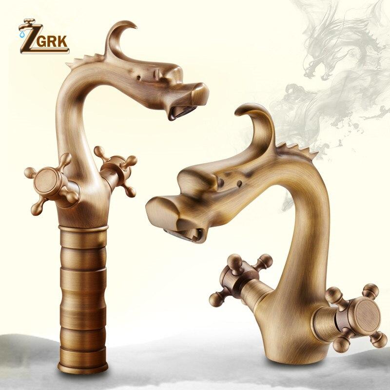 Кран ZGRK для ванной комнаты, кран с двумя ручками, европейский стиль