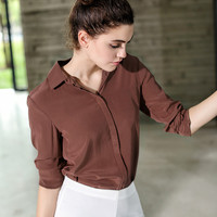 Heavy Natural Silk Long Sleeve 100 Mulberry Silk Top Women Square Collar Blouses XS S M