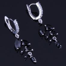Charming Plant Black Cubic Zirconia White CZ 925 Sterling Silver Drop Dangle Earrings For Women V0751