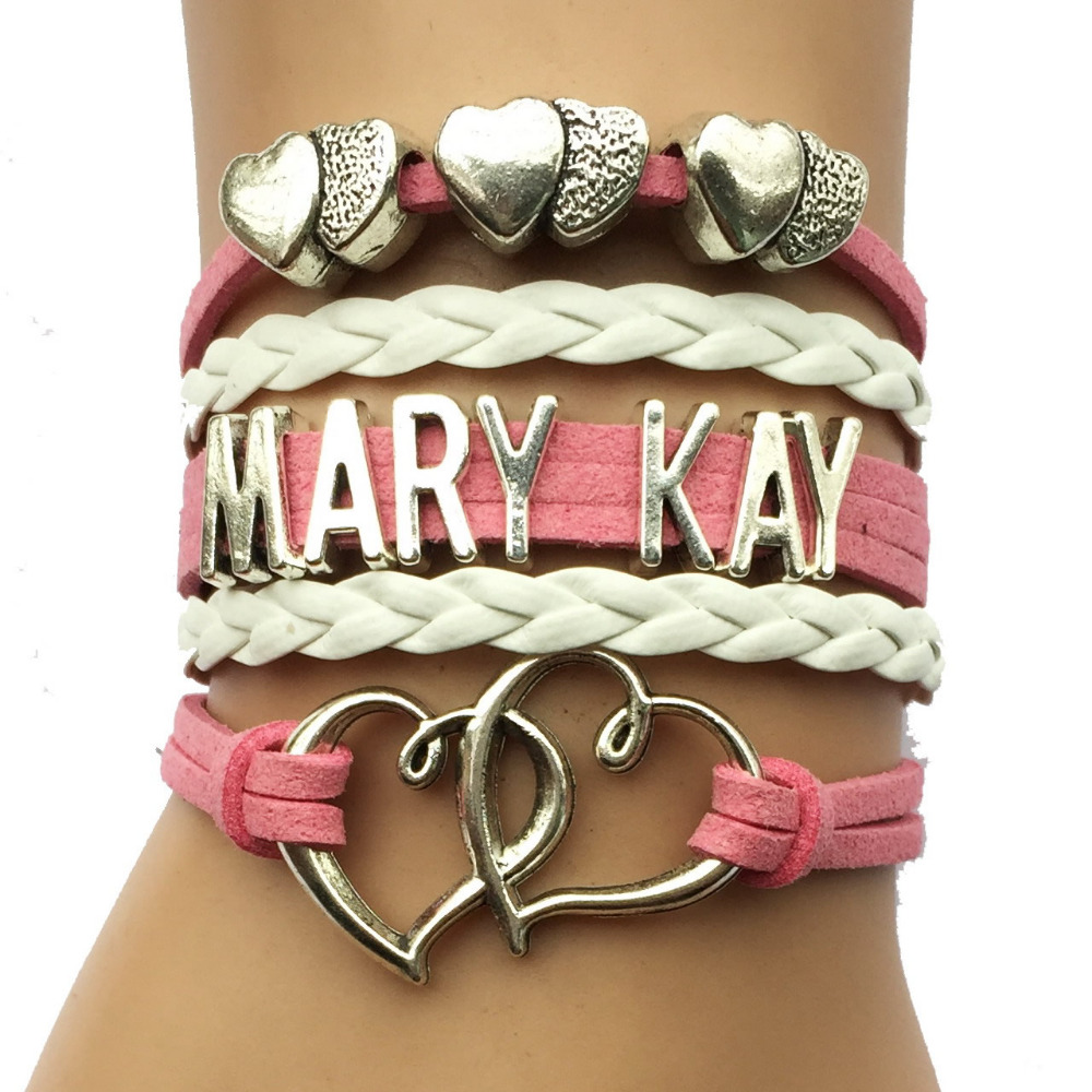 Drop Shipping Pink Mary Kay Bracelet- Double Heart Silver Plated Leather Friendship Cosmetics Customizied Fashion Jewlery