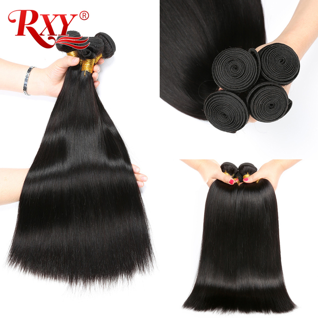 "Best Price RXY Malaysian Hair Bundle Double Weft Silky Straight Hair Bundles 100% Remy Human Hair Extension Full Head 10""-28"" 1/3/4 Bundles"