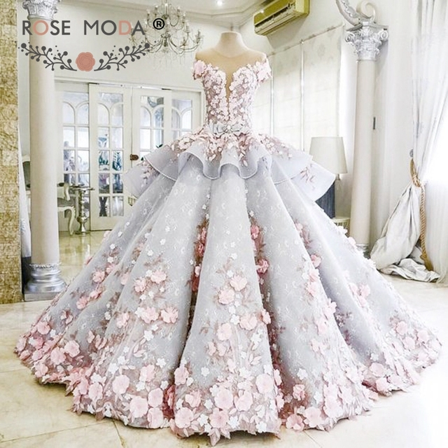 afb76d8d0b Rose Moda Luxury Blue Lace Wedding Dress 2019 with Crystals 3D Flower  Backless Bridal Long Train