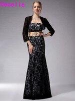 Black Lace Longo Sereia Até O Chão Mãe Dos vestidos de Noiva vestidos Com Jaquetas Plus Size Mãe Da Noiva Vestidos Para Casamento vindima