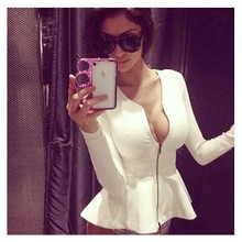 TOP Quality Fashion Sexy Zipper Rayon Bandage Tops White Black Designer Black Outwear Jacket Coat(China)