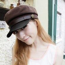 2018 nueva moda marinero del barco capitán militar sombreros visera gorras  de béisbol negro sombrero plano para las mujeres boin. 27ac3145ac7